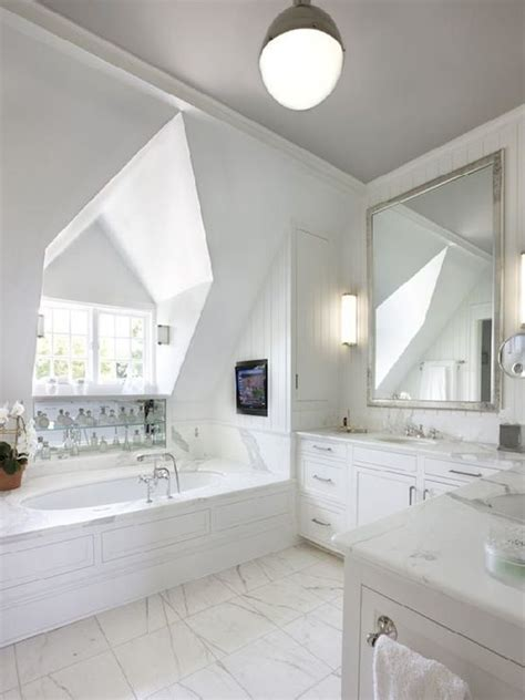 Gorgeous bathroom with dormer window over an oval shaped