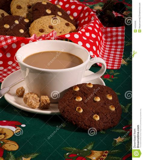 Chocolate Chip Cookies Coffee Christmas Pattern Royalty