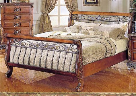 Warm Cherry Finish Traditional Sleigh Bed w/Iron Gold-Tone