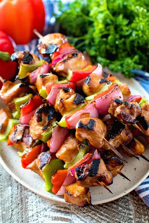 Asian Chicken Skewers - Gimme Some Grilling